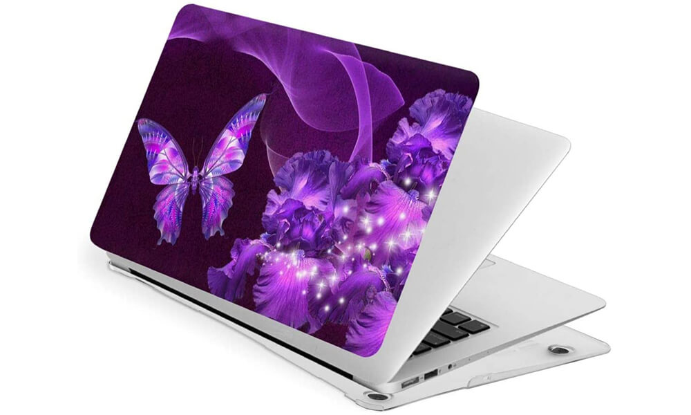 TaylorHe Vinyl With Purple and Pink Butterflies Laptop Sticker